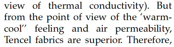 A quote from a scientific article showing how Tencel is cooler than cotton.
