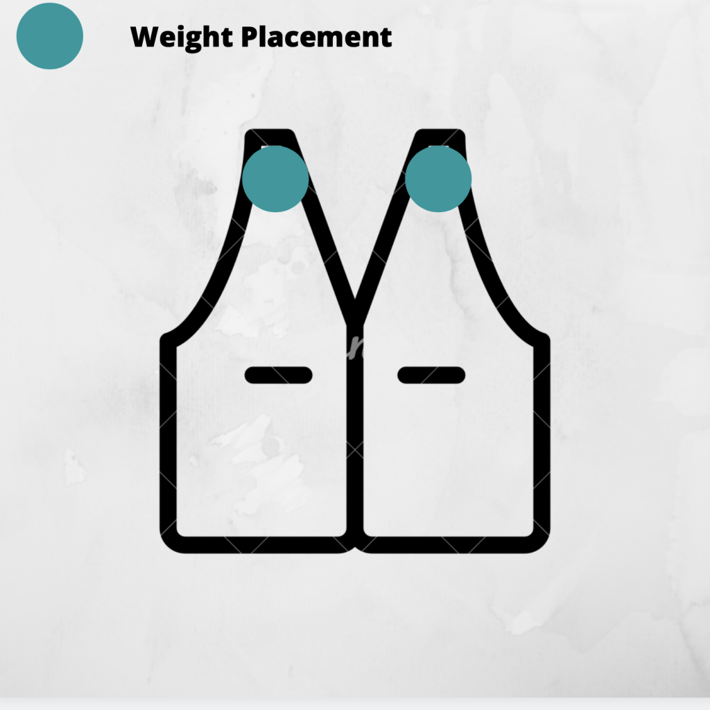 Weight placement on weighted vest