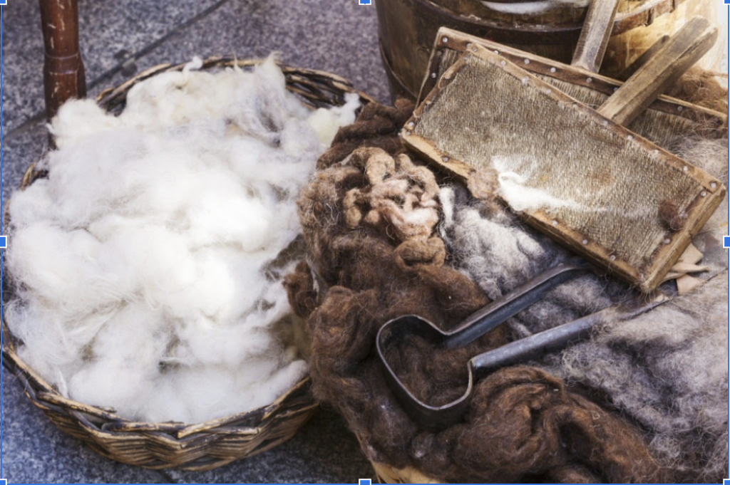 wool fabric before being made into yarn