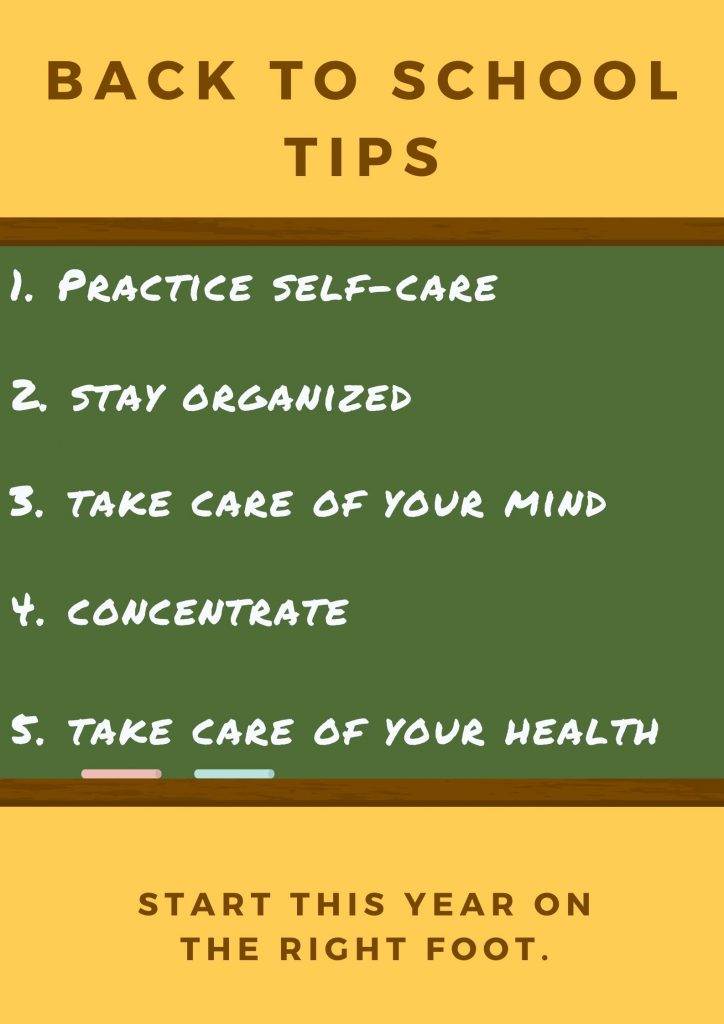 back to school tips graphic summarizing 5 tips listed below.