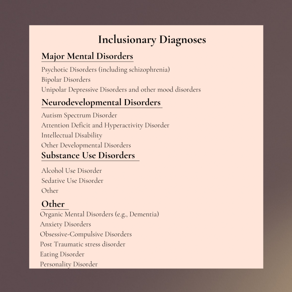 inclusionary diagnoses including substance use disorder